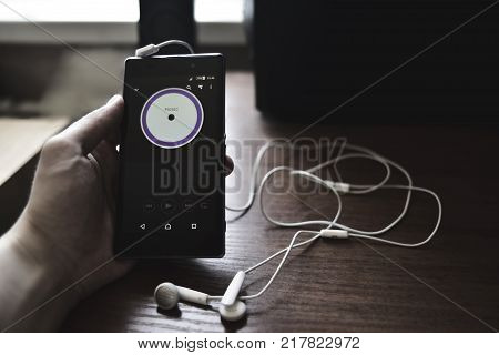 Smartphone headphones music technology media electronic gadget