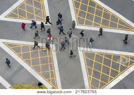 Santiago Region Metropolitana Chile - May 22 2017: On the booming financial district of Nueva Las Condes was inaugurated for first time in the city a diagonal crossing to facilitate the transit of pedestrians at rush hour