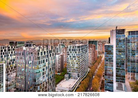Office buildings in Nueva Las Condes a modern financial district in the wealthy district of Las Condes in Santiago de Chile