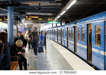 Stockholm Sweden - September 7 2015: One blue metro train has stopped at the Old town metro station.