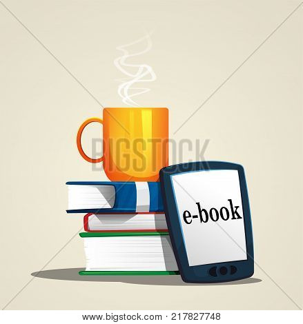 Stack of books and e-book. Cartoon vector illustration