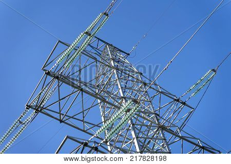 Close-up of Power line with conductors, withstand surges due to switching lightning