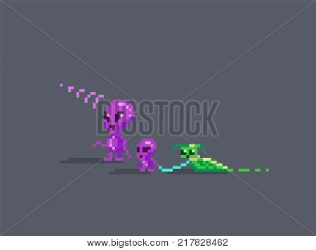 Aliens family pixel art style. Adult child and their pet. vector illustration