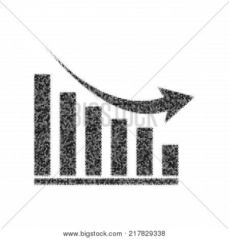 Declining graph sign. Vector. Black icon from many ovelapping circles with random opacity on white background. Noisy. Isolated.
