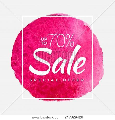 Watercolor Special Offer, Super Sale Flyer, Banner, Poster, Pamphlet, Saving Upto 70 Off, Vector illustration with abstract paint stroke.