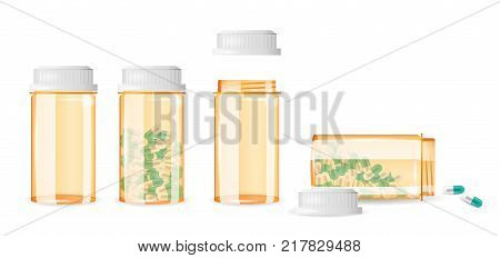 Set of closed and open pill bottles isolated on the white background. Realistic vector illustration. Medicine, prescription, drug bottles collection.
