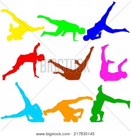 Silhouettes breakdancer on a white background. Vector illustration.