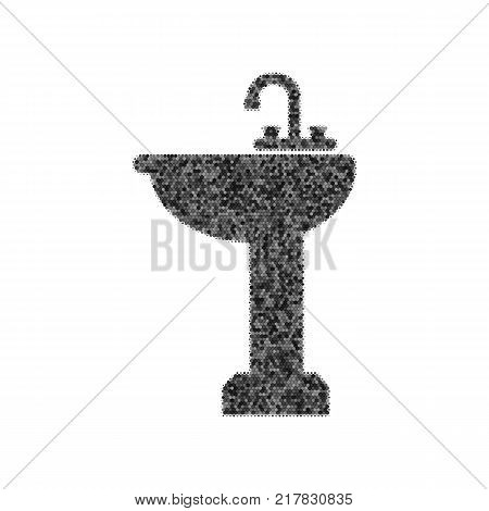 Bathroom sink sign. Vector. Black icon from many ovelapping circles with random opacity on white background. Noisy. Isolated.