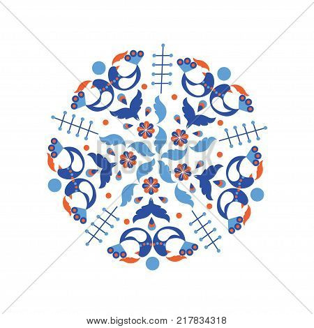 Circle pattern with scandinavian folk elements. Stock vector illustration of finnish nordic swedish norvegian floral wreath in orange and blue colors.