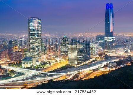 Santiago Region Metropolitana Chile - July 14 2016: A view of modern buildings at the wealthy financial district popularly know as Sanhattan in Vitacura Providencia and Las Condes districts.