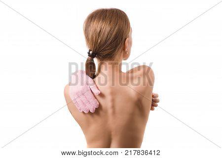 Beautiful young woman hand bath sponge spa cosmetology on white background isolation