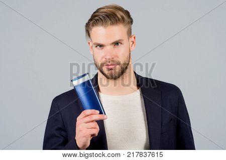 Man Touch Hair With Shampoo Bottle, Hair Care, Grooming