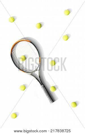Tennis. Tennis racket and balls the white background. Isolated. Sport