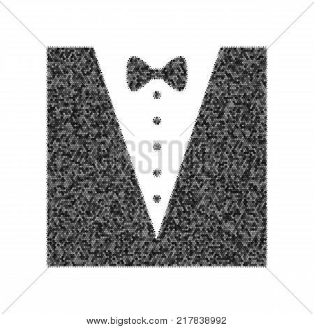 Tuxedo with bow silhouette. Vector. Black icon from many ovelapping circles with random opacity on white background. Noisy. Isolated.