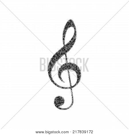 Music violin clef sign. G-clef. Treble clef. Vector. Black icon from many ovelapping circles with random opacity on white background. Noisy. Isolated.