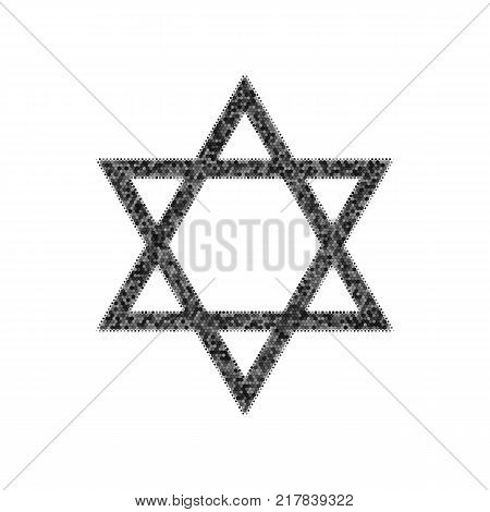 Shield Magen David Star. Symbol of Israel. Vector. Black icon from many ovelapping circles with random opacity on white background. Noisy. Isolated.
