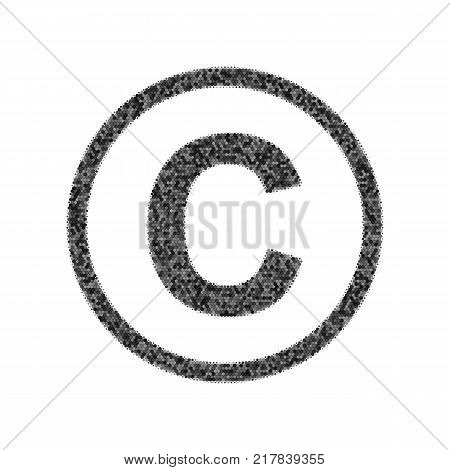 Copyright sign illustration. Vector. Black icon from many ovelapping circles with random opacity on white background. Noisy. Isolated.