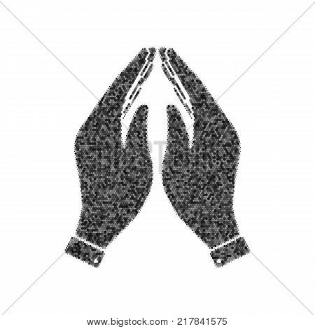 Hand icon illustration. Prayer symbol. Vector. Black icon from many ovelapping circles with random opacity on white background. Noisy. Isolated.