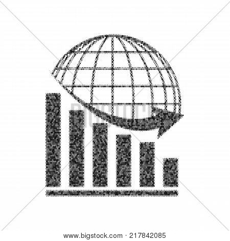Declining graph with earth. Vector. Black icon from many ovelapping circles with random opacity on white background. Noisy. Isolated.