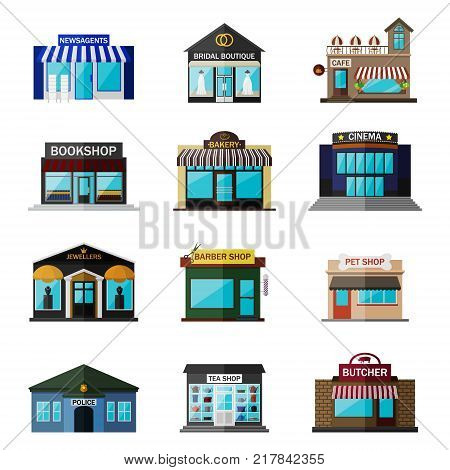 Different shops, buildings and stores flat icon set isolated on white. Includes newsagents, bridal boutique icon, cafe building, bookshop exterior, bakery shop, cinema, jewellers, barber shop, pet shop icon, police, tea shop, butcher.