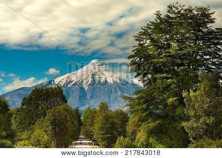 Osorno Volcano and Road at Reserva Nacional LLanquihue Chile