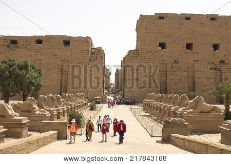 Giza Museum Complex Egypt - 27 August 2017: Buildings and columns of ancient Egyptian megaliths. Ancient ruins of Egyptian buildings