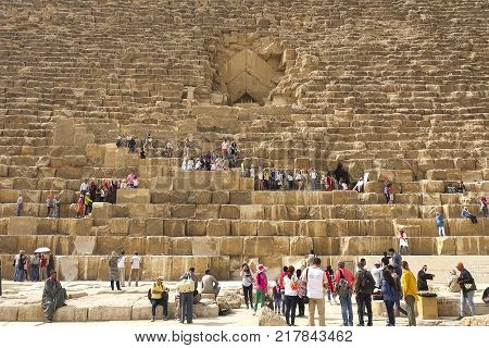 Giza Museum Complex Egypt - 27 August 2017: Pyramids of giza. Great pyramids of Egypt. The seventh wonder of the world. Ancient megaliths