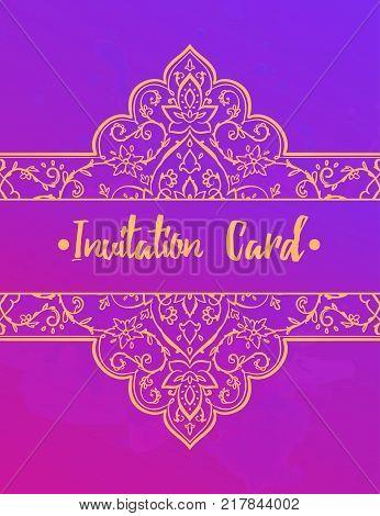 Islamic style brochure, flyer design, flower elements and ornament. or cafe, restaurant, shop, print. India, Arabic Dubai turkish Islam indian greeting card