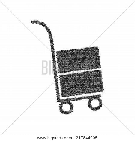 Hand truck sign. Vector. Black icon from many ovelapping circles with random opacity on white background. Noisy. Isolated.