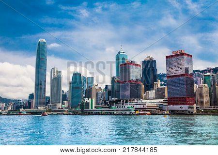 HONG KONG, CHINA - APR 4, 2016: Hong Kong City skyline at sunrise day on Apr 4, 2016. View from across central district Hongkong.