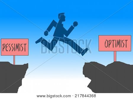 Businessman jumping from pessimist to optimist zone