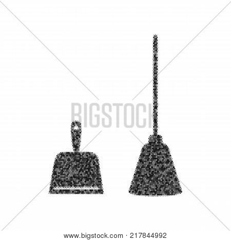 Dustpan vector sign. Scoop for cleaning garbage housework dustpan equipment. Vector. Black icon from many ovelapping circles with random opacity on white background. Noisy. Isolated.