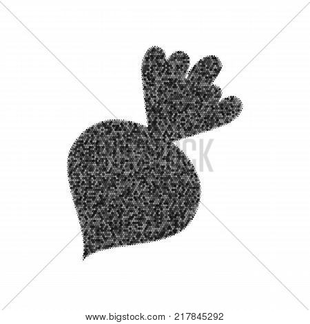 Beet simple sign. Vector. Black icon from many ovelapping circles with random opacity on white background. Noisy. Isolated.