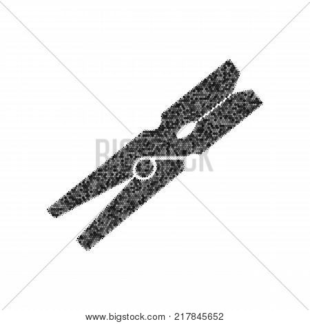 Clothes peg sign. Vector. Black icon from many ovelapping circles with random opacity on white background. Noisy. Isolated.