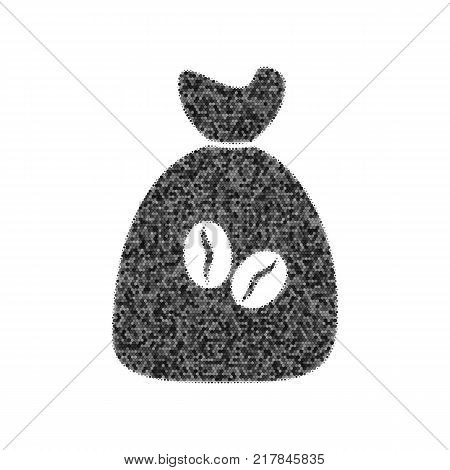 Coffee bag Icon. Coffee bag. Vector. Coffee bag Icon Button. Vector. Black icon from many ovelapping circles with random opacity on white background. Noisy. Isolated.