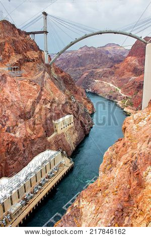View of the Colorado River below Hoover Dam in the Southwest United States