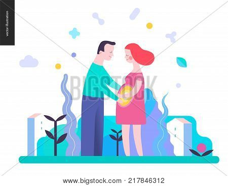 Reproduction - a couple expecting baby on the landscape background