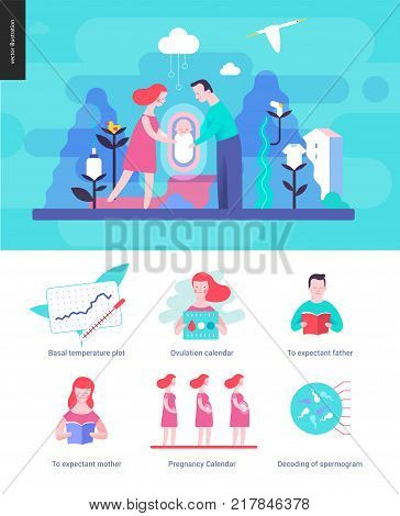 Reproduction - interface template wit a vector illustration and a set of illustrated icons
