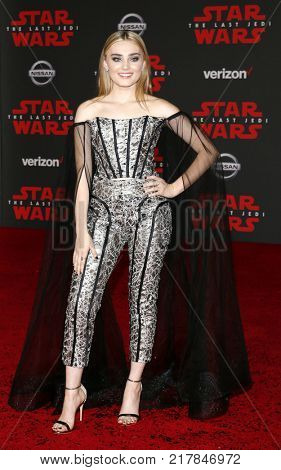 Meg Donnelly at the World premiere of 'Star Wars: The Last Jedi' held at the Shrine Auditorium in Los Angeles, USA on December 9, 2017.