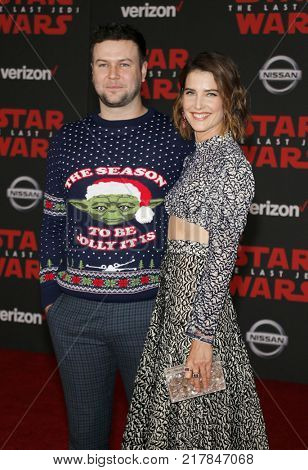 Cobie Smulders and Taran Killam at the World premiere of 'Star Wars: The Last Jedi' held at the Shrine Auditorium in Los Angeles, USA on December 9, 2017.