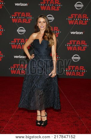 Sofia Vergara at the World premiere of 'Star Wars: The Last Jedi' held at the Shrine Auditorium in Los Angeles, USA on December 9, 2017.