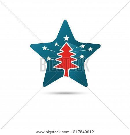 creative star logo with pine tree inside vector,pine tree line vector inside stars  sign,pine tree with stars logo vector