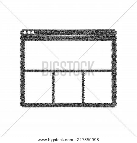 Web window sign. Vector. Black icon from many ovelapping circles with random opacity on white background. Noisy. Isolated.