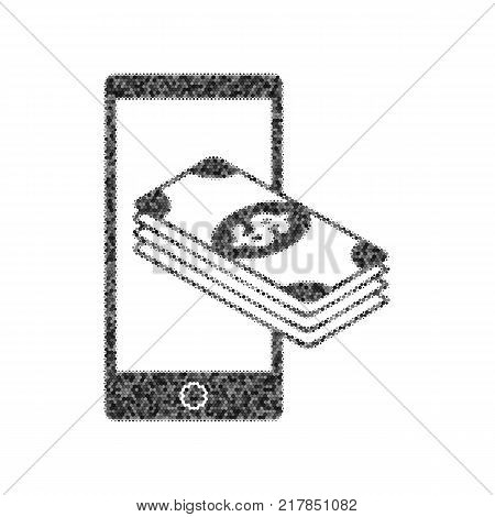 Payment, refill your mobile smart phone, . Vector. Black icon from many ovelapping circles with random opacity on white background. Noisy. Isolated.