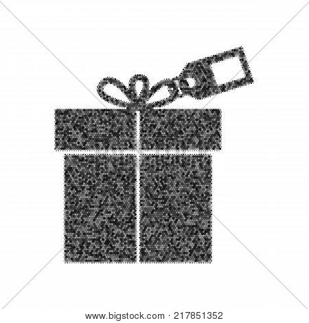 Gift sign with tag. Vector. Black icon from many ovelapping circles with random opacity on white background. Noisy. Isolated.