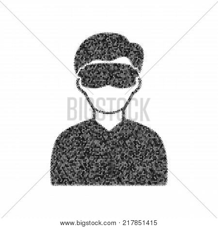 Man with sleeping mask sign. Vector. Black icon from many ovelapping circles with random opacity on white background. Noisy. Isolated.