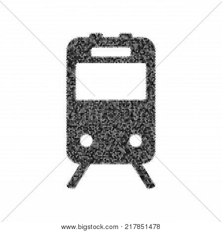 Train sign. Vector. Black icon from many ovelapping circles with random opacity on white background. Noisy. Isolated.