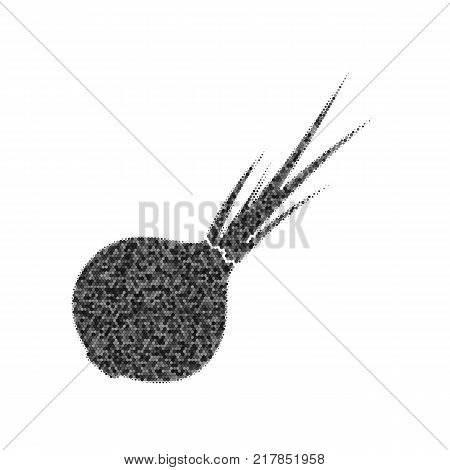 Onion sign. Salad ingredient. Healthy vegetable. Vector. Black icon from many ovelapping circles with random opacity on white background. Noisy. Isolated.