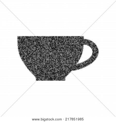 Cup sign. Vector. Black icon from many ovelapping circles with random opacity on white background. Noisy. Isolated.