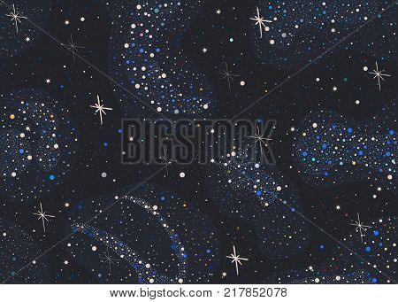 Colorful Seamless Pattern with shiny Stars. Dark Starry Night. Red yellow blue stars. Part of Cosmos Astronomy and Space Collection. Detailed Illustration. Vector Illustration